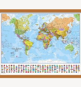 Small World Wall Map Political with flags (Wooden hanging bars)