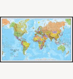 Large World Wall Map Political (Wood Frame - Black)