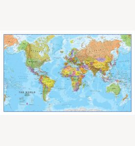 Large World Wall Map Political (Pinboard & wood frame - White)