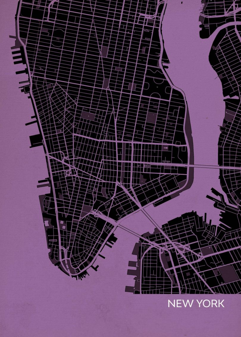 New York City Street Map Print Mauve