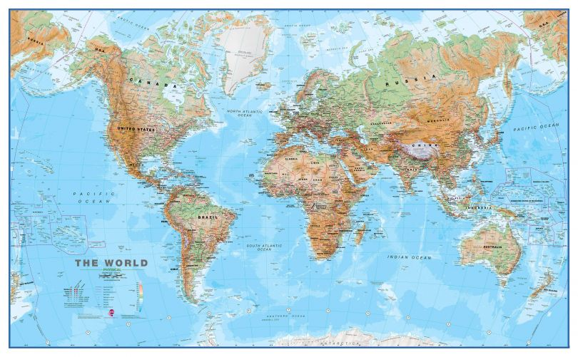 Large World Wall Map Physical (Paper)
