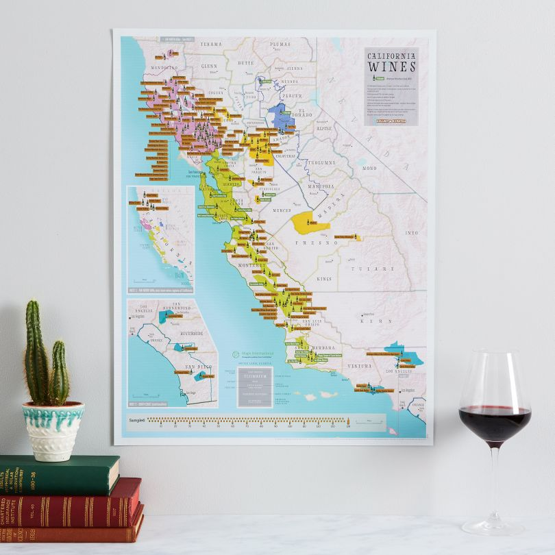 Scratch Off California Wines Print (Pinboard & wood frame - White)