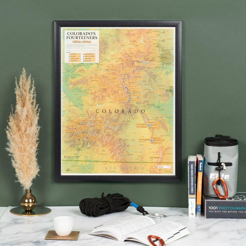 Scratch Off Colorado Fourteeners Print (Pinboard & wood frame - Black)