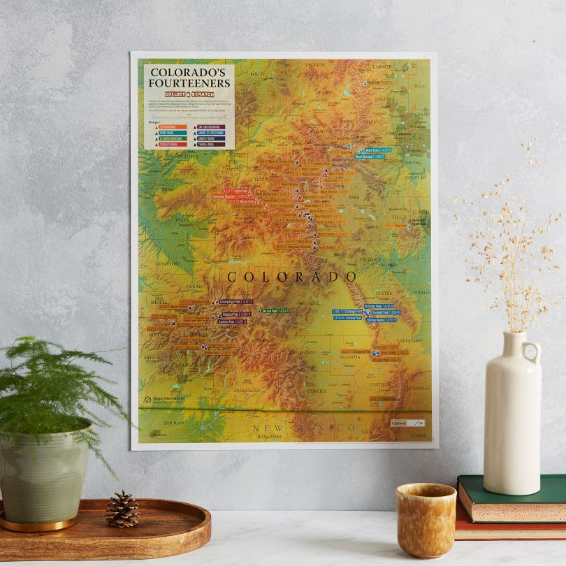 Scratch Off Colorado Fourteeners Print
