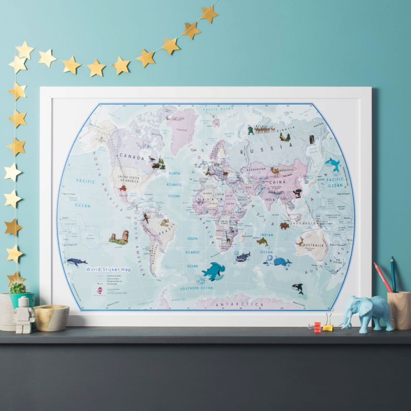World Illustrated Sticker Map