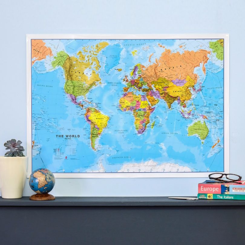 Medium World Wall Map Political (Paper Single Side Lamination)