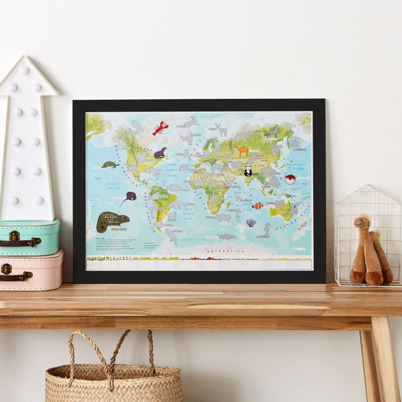 Scratch Off Kids Animals of the World Print (Pinboard & wood frame - Black)