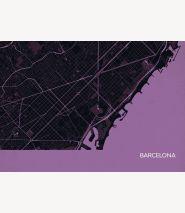 Barcelona City Street Map Print Mauve