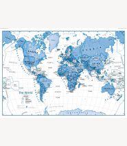 Children's Art Map of the World Blue