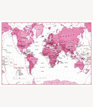 Children's Art Map of the World Pink