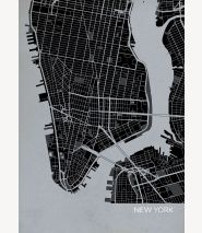 New York City Street Map Print Charcoal
