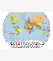 Huge Primary World Wall Map Political with flags (Laminated)