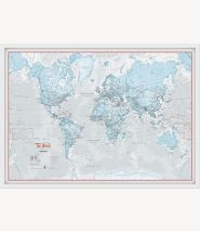 Medium The World Is Art - Wall Map Aqua (Wood Frame - White)