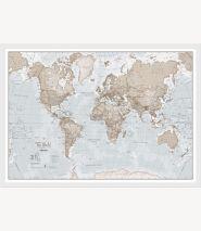 Medium The World Is Art - Wall Map Neutral (Wood Frame - White)