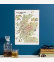 Scratch Off Scotland Whisky Distilleries Print