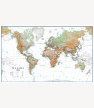 World Wall Map Physical White Ocean