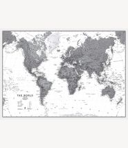 World Wall Map Political Black & White