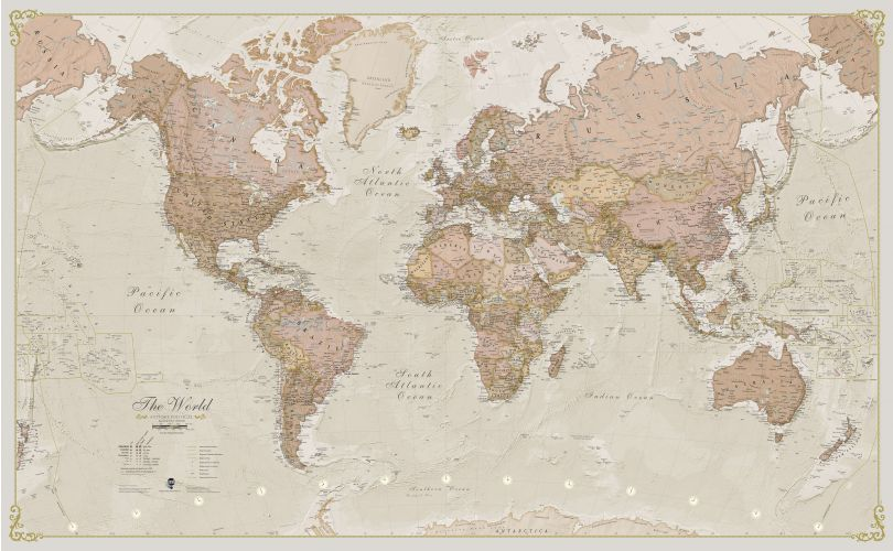 Medium Antique World Map (Paper)