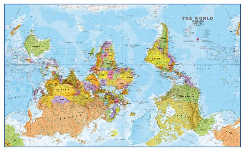 Upside Down World Wall Map Political