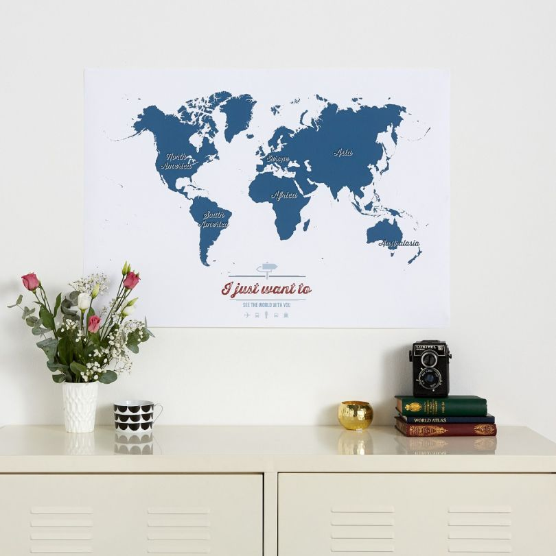 Personalized Travel Map of the World - Teal