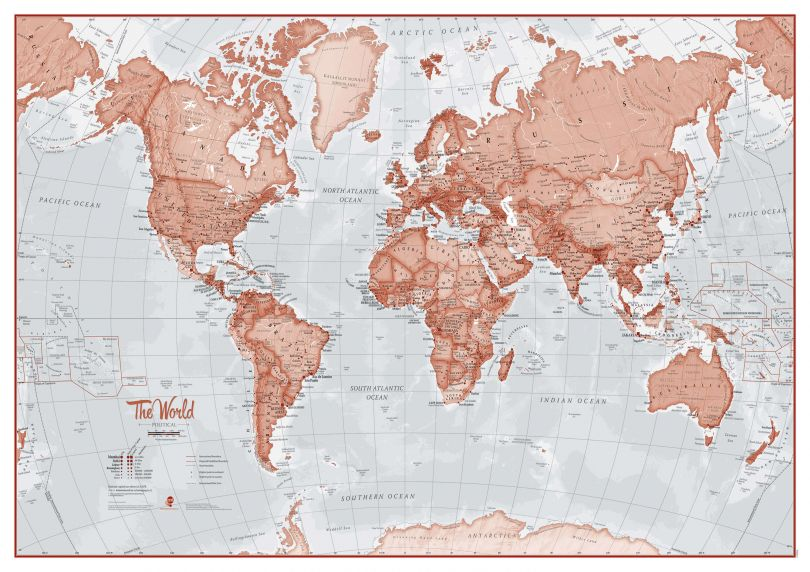 Small The World Is Art - Wall Map Red (Paper)