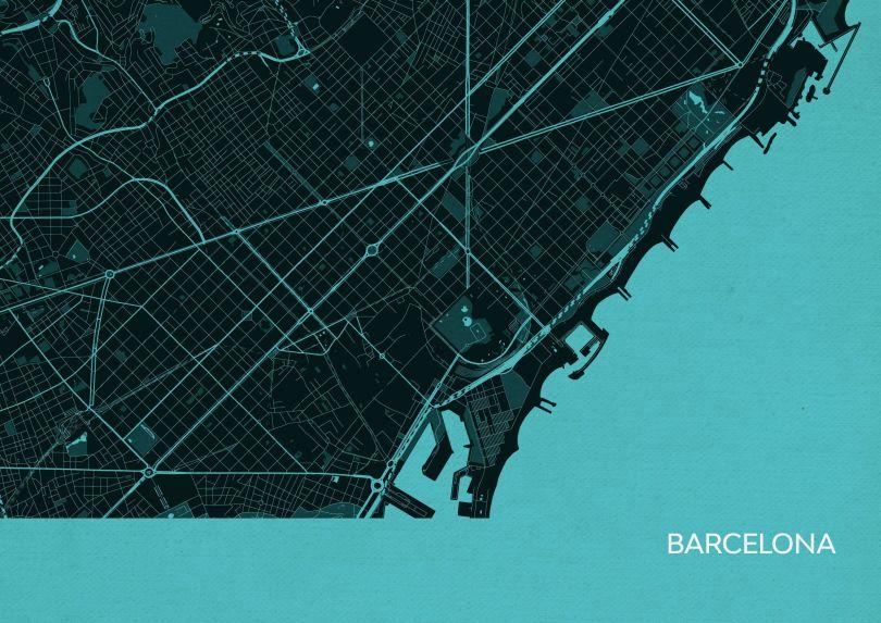 Barcelona City Street Map Print Turquoise