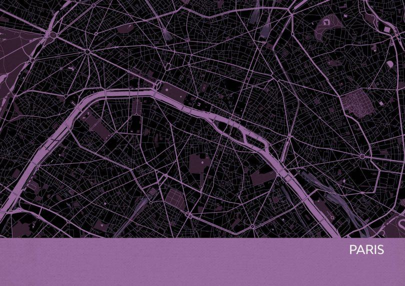 Paris City Street Map Print Mauve