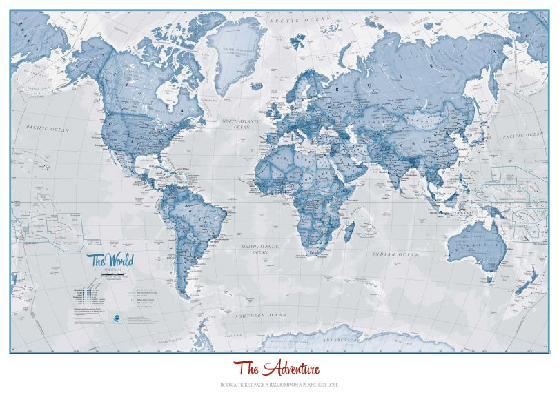 Personalized World Is Art - Wall Map Blue