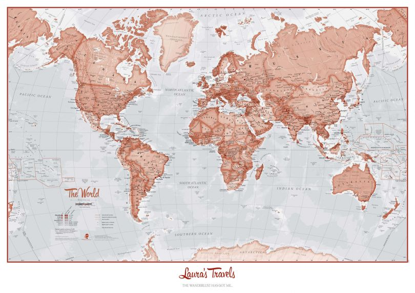 Personalized World Is Art - Wall Map Red