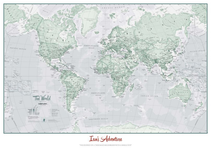 Personalized World Is Art - Wall Map Rustic