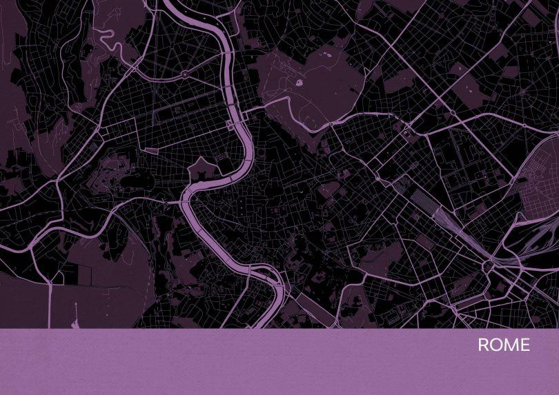 Rome City Street Map Print Mauve