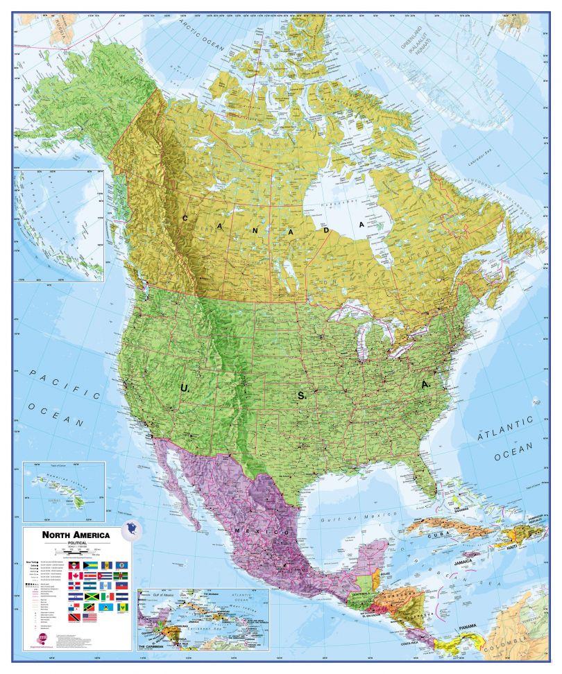 North America Wall Map Political