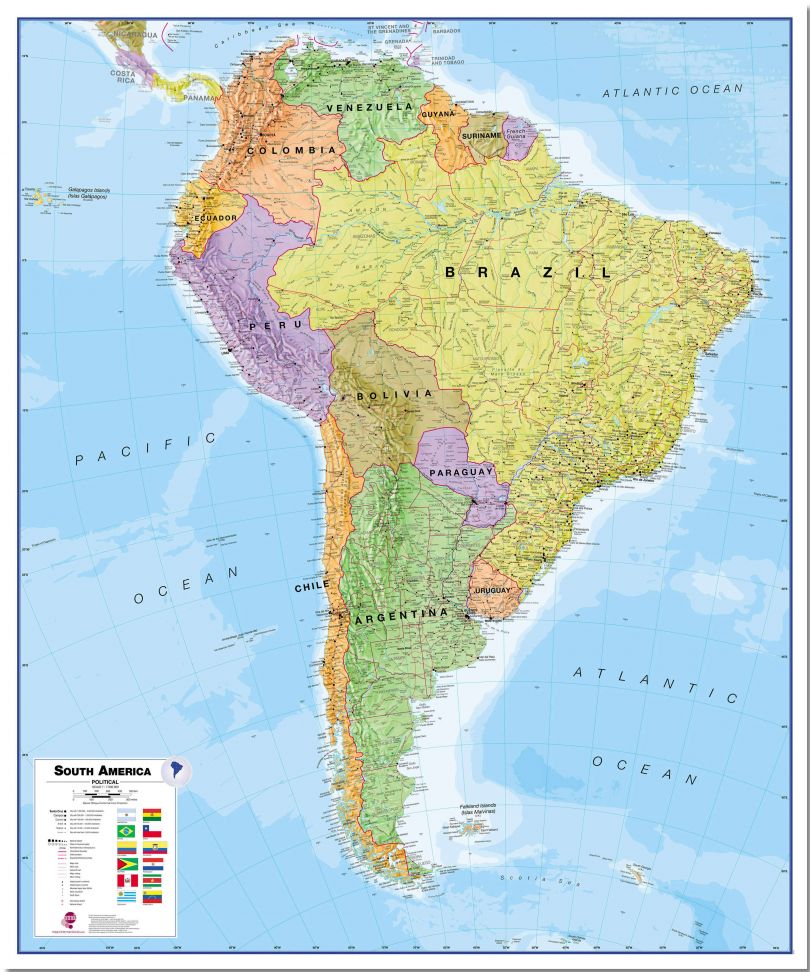 Large South America Wall Map Political (Pinboard)