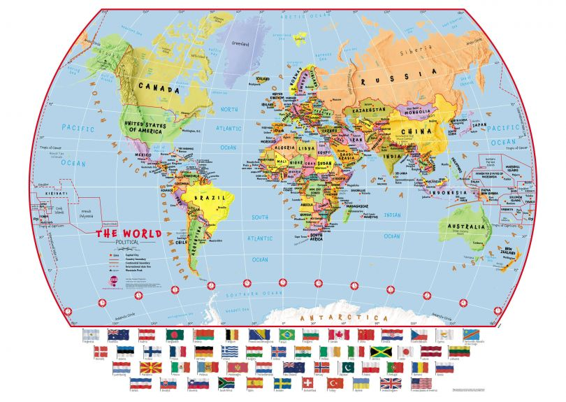 Large Primary World Wall Map Political with flags (Paper)