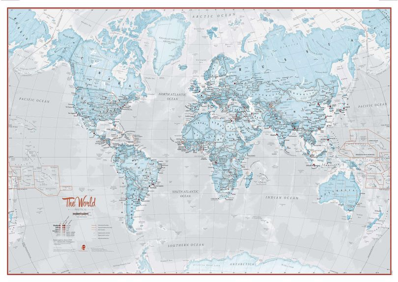 Large The World Is Art - Wall Map Aqua (Laminated)