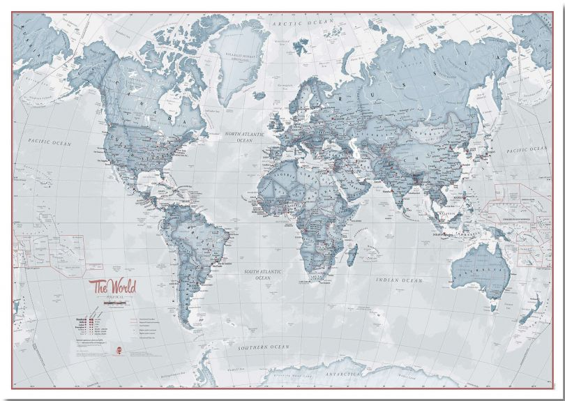 Large The World Is Art - Wall Map Teal (Pinboard)