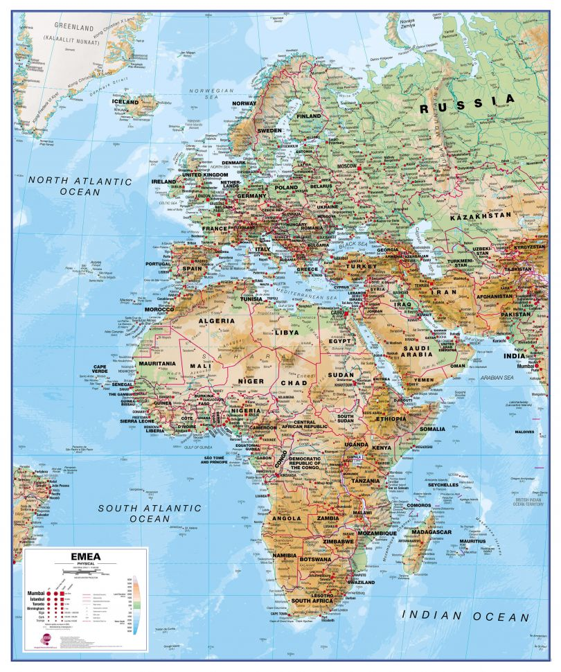 Physical Map Of East Africa Physical Europe Middle East Africa Map | EMEA Map