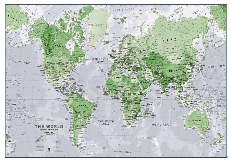 Glow in the Dark World Map (Silk Art Paper)