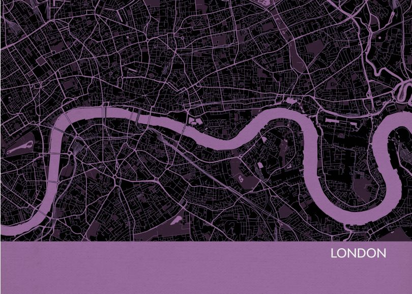 London City Street Map Print Mauve