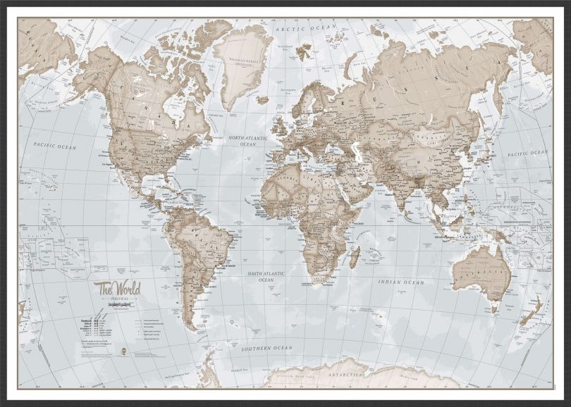 Large The World Is Art - Wall Map Neutral (Pinboard & wood frame - Black)