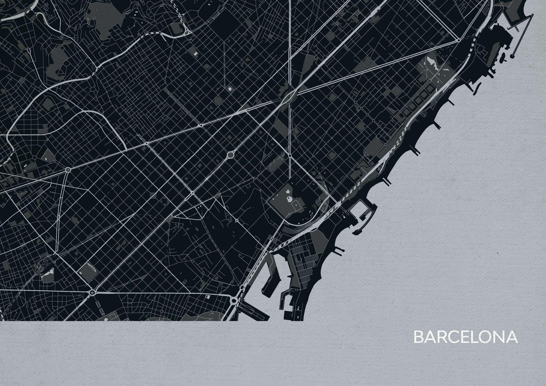 Barcelona City Street Map Print