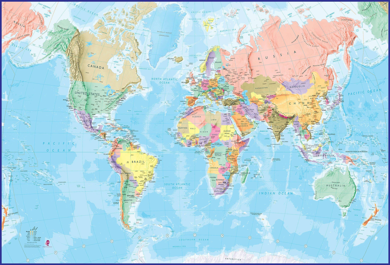 Giant World Map Giant World Map Mural   Blue Ocean (Mural)