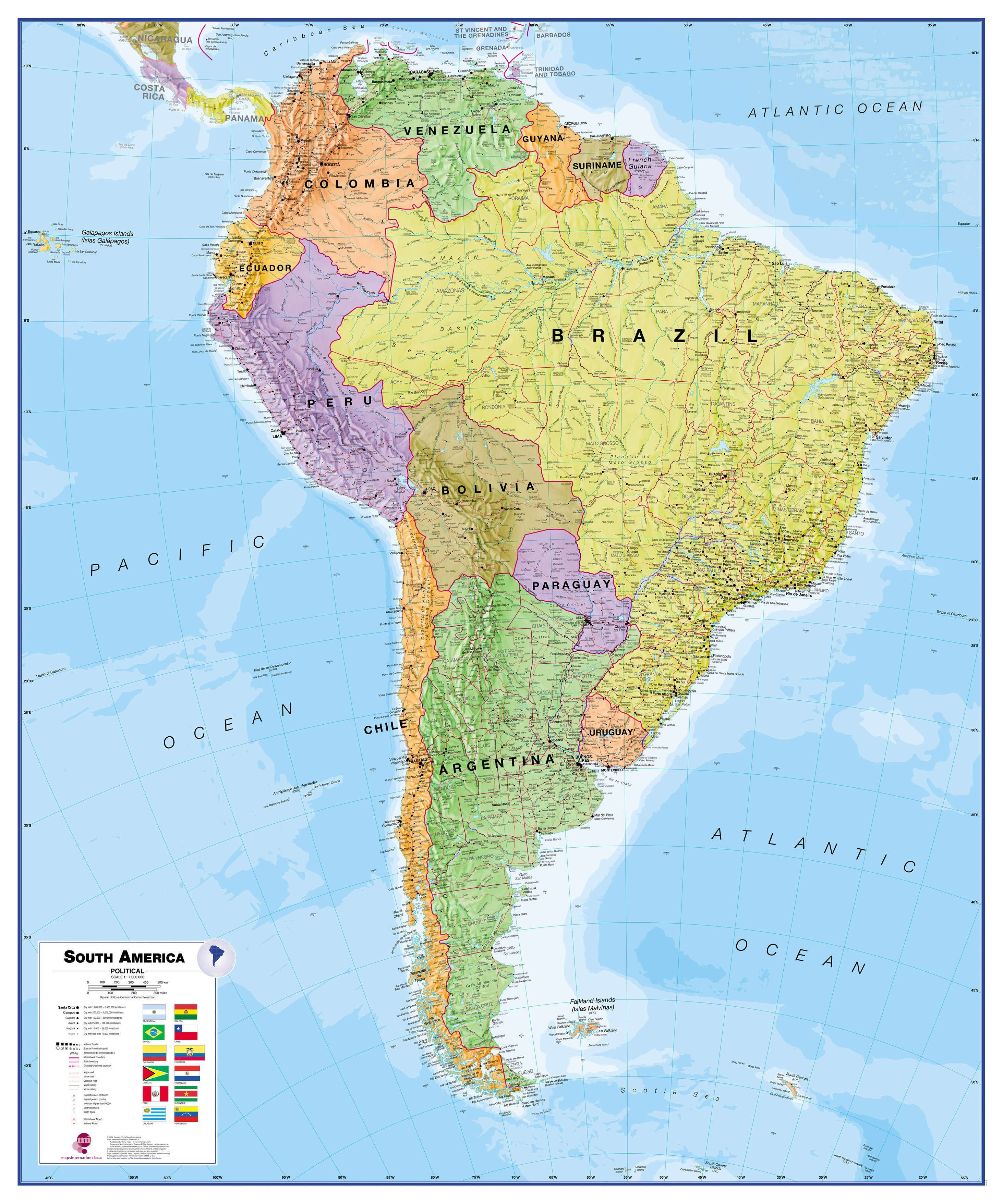 Political South American Map.Political South America Wall Map