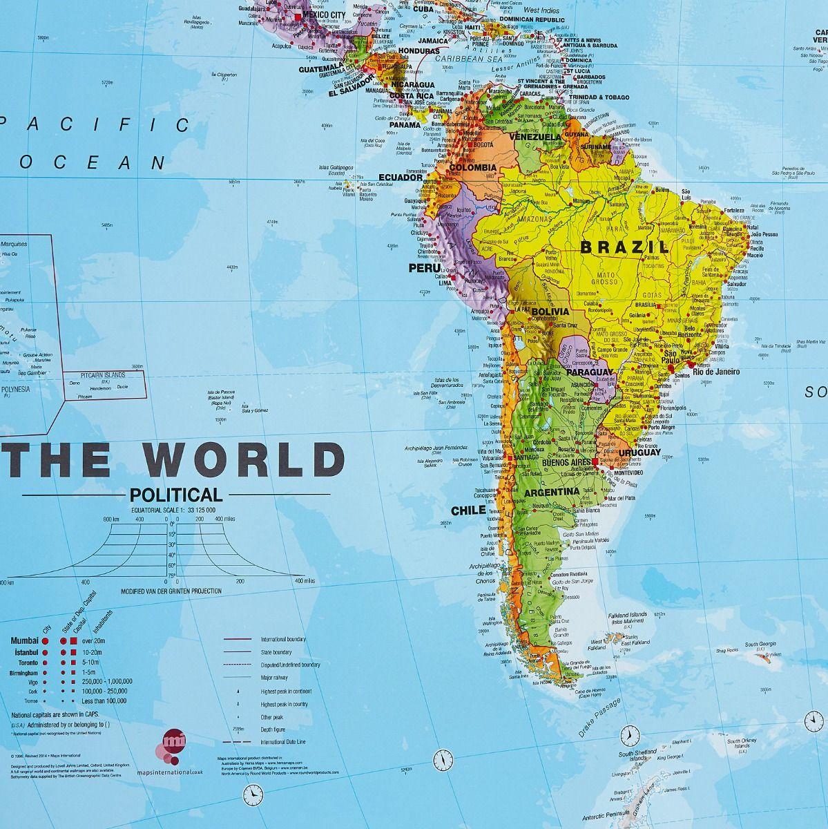 Huge Political World Wall Map Laminated