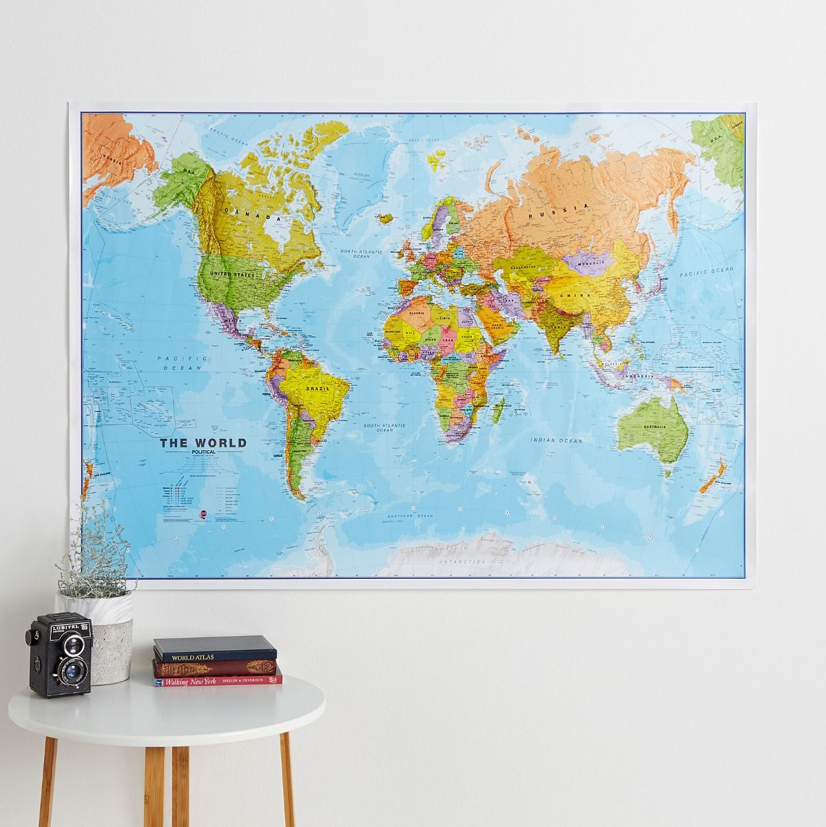 Large Political World Wall Map Laminated