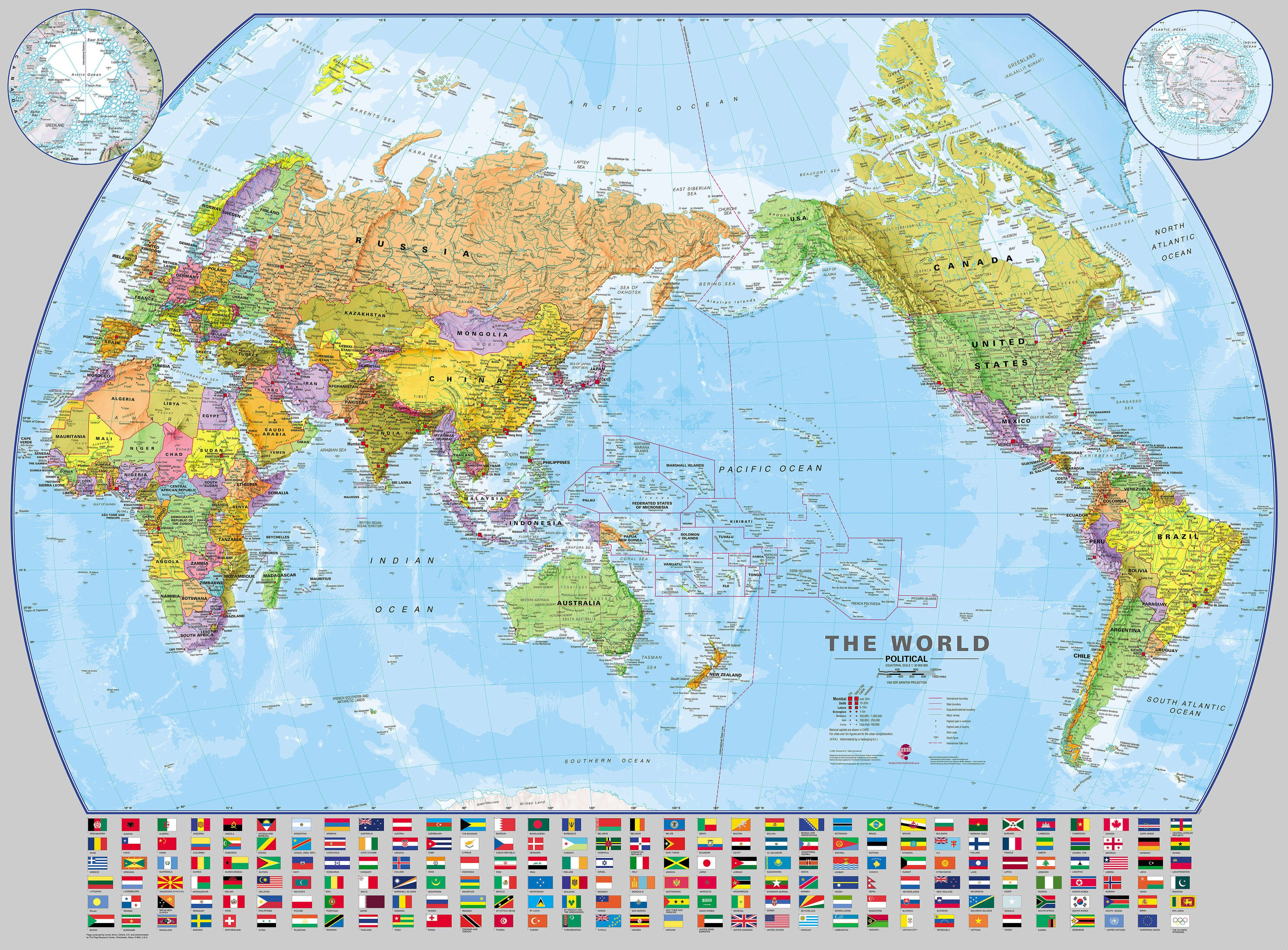 Pacific Centered World Map Pacific Centered World Wall Map with flags