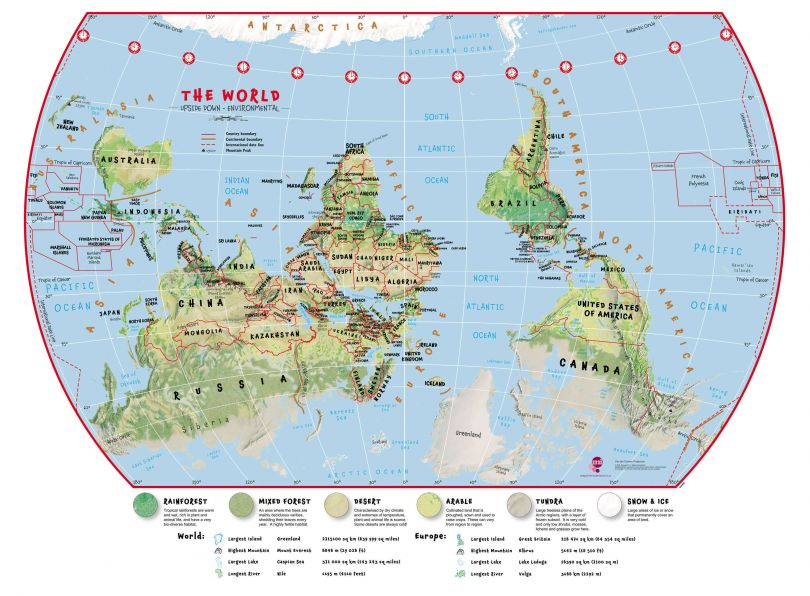 Primary Upside Down World Wall Map Environmental
