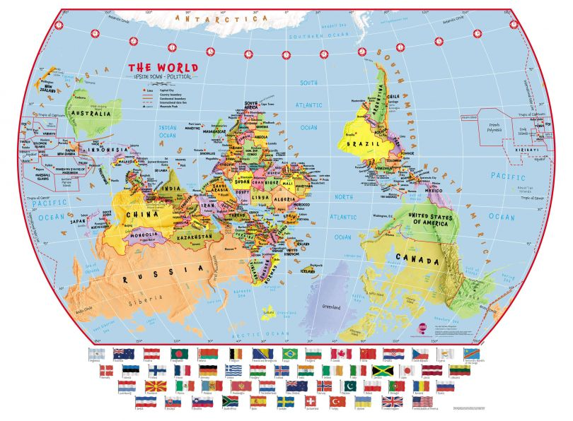 Primary Upside Down World Wall Map Political with flags