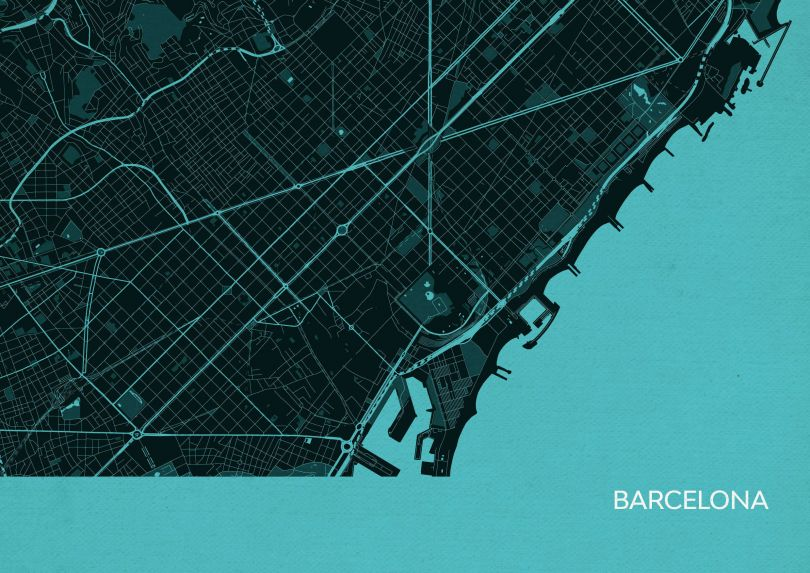 Barcelona City Street Map Print Turquoise