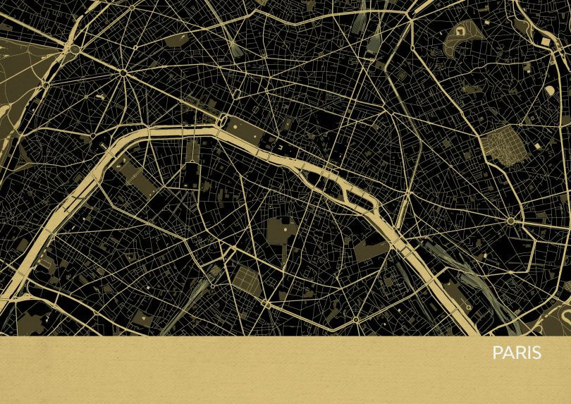 Paris City Street Map Print - Straw